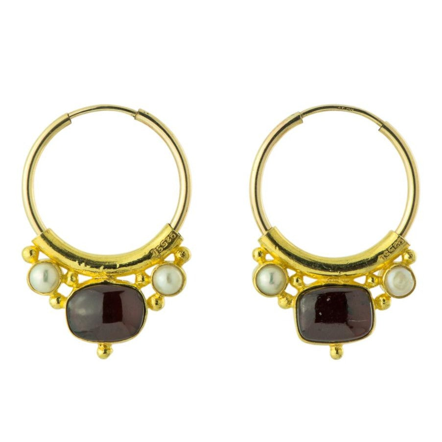 Othello Garnet and Pearl Earrings