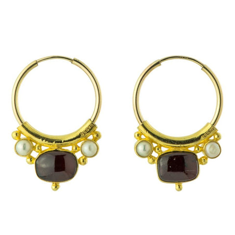 Othello Garnet & Pearl Earrings