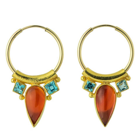 Camelot Carnelian & Blue Topaz Earrings