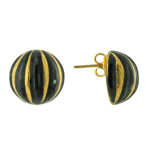 Black and Gold Ball Enamel Earrings