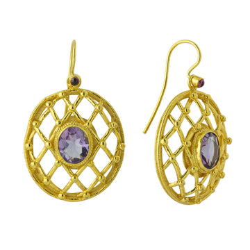 Heavenly Web Amethyst Earrings