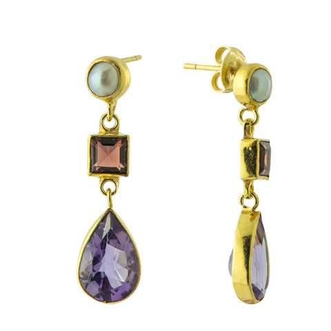 Sarah Siddons Iolite, Garnet & Pearl Earrings