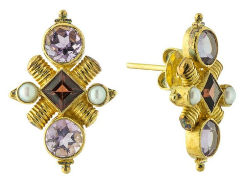 Jenny Lind Amethyst, Garnet and Pearl Earrings