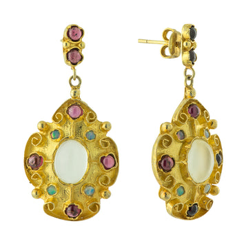 Mughal Moonstone, Garnet and Opal Earrings