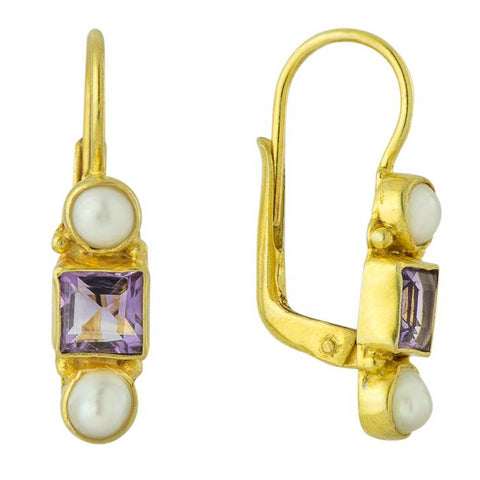 Thoroughly Modern Millie Amethyst & Pearl Earrings