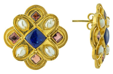 Duchess Of Burgundy Lapis, Pearl and Garnet Earrings
