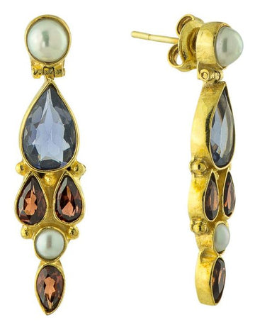Lady Chatterley Iolite, Garnet and Pearl Earrings