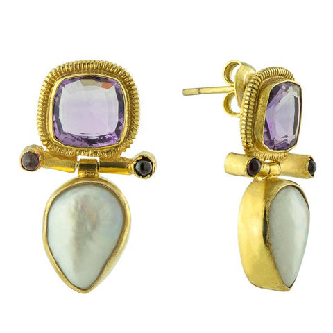 Arnsworth Castle Earrings: Amethyst, Pearl & Garnet