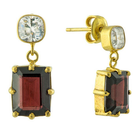 Blood Moon Cubic Zirconia and Garnet Earrings