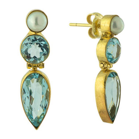 Ellen Terry Blue Topaz and Pearl Earrings