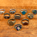 Antique Qing Dynasty Silver Enamel Ring with Face
