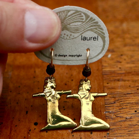 Vintage Laurel Burch Kneeling Isis Gold-Plate Earrings