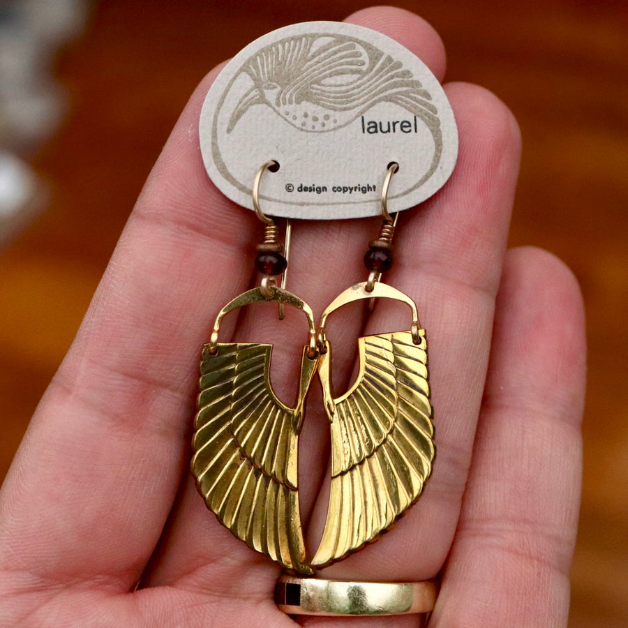 Vintage Laurel Burch Isis Wing Gold-Plate Earrings