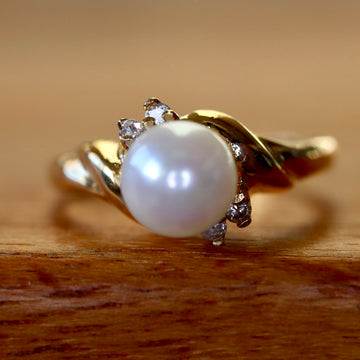 Sulu Sea 14k Gold, Pearl and Diamond Ring
