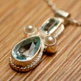 Eleanora Duse Blue Topaz & Pearl Necklace