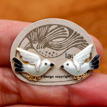 Vintage Laurel Burch Bird Black and White Gold-Vermeil Studs