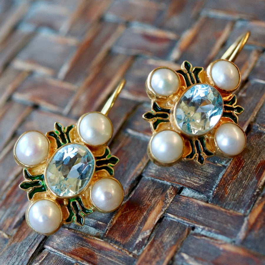 Bel Canto Blue Topaz and Pearl Earrings