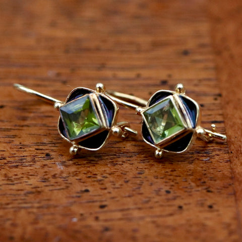14k Sherwood Forest Peridot Earrings
