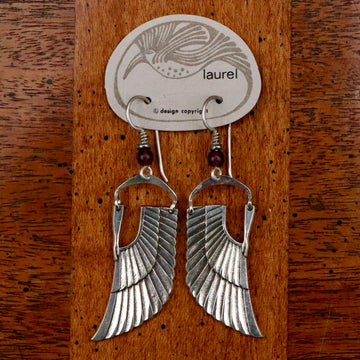 Vintage Laurel Burch Isis Wing Silver-Plate Earrings