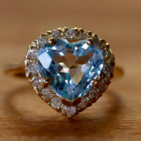 Chantilly Blue Topaz and Diamond Ring