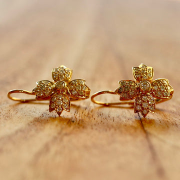 La Madeleine 14k Gold and Diamond Earrings
