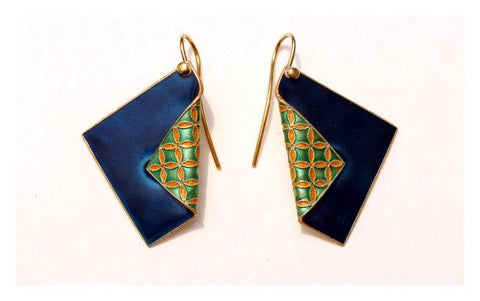 Upturned Scarf Earring in Blue and Teal