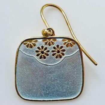 Square Daisy White Enamel Earrings