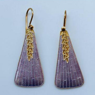 Vintage Shashi Long Deco in Lavender Gold-Vermeil Earrings