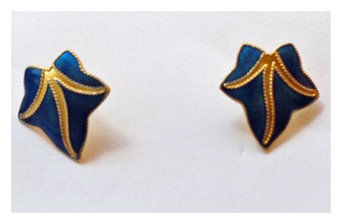 Ivy Leaf Small Stud Blue and Gold Earrings