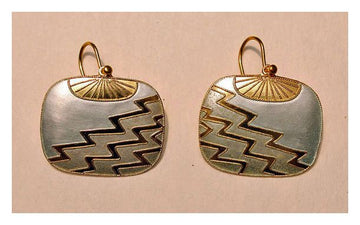 Vintage Shashi Square Zig Zag Whilte Enamel Gold-Vermeil Earrings