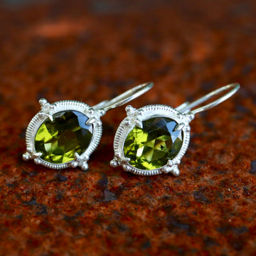Peridot Buckingham Silver Earrings