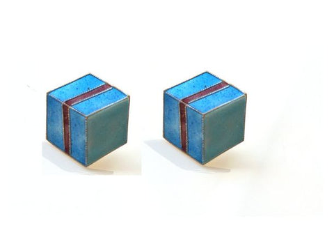 Blue Gift Box Enamel Earrings