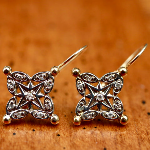 Brittany Star Earrings: Diamonds and 14k Gold