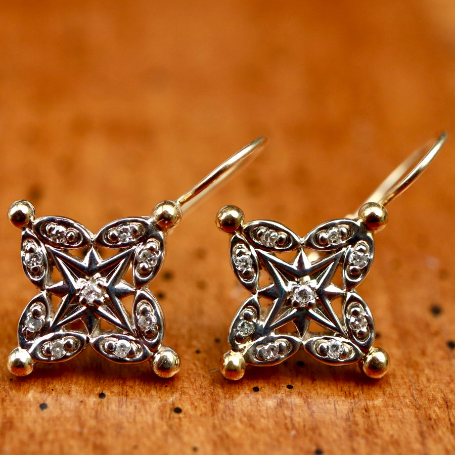 Brittany Star 14k Gold and Diamond Earrings