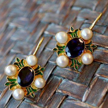 Bel Canto Iolite and Cultured Pearl Earrings