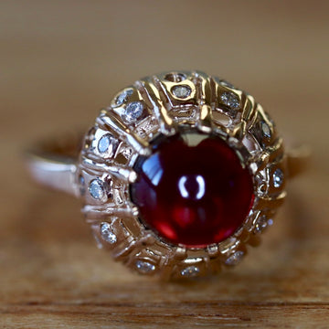 Clara Schumann 14k Gold, Garnet and Diamond Ring