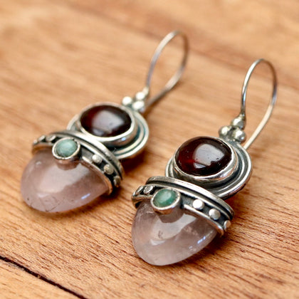 Anastasia Garnet, Quartz & Aventurine Earrings