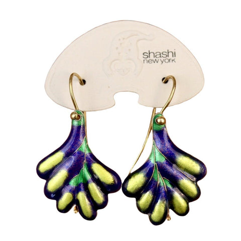 Vintage Shashi Purple Frond Earrings