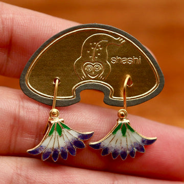 Vintage Shashi Purple Papyrus Flower Earrings