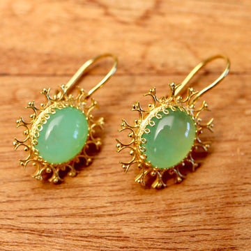 Chrysoprase Snowflake Earrings