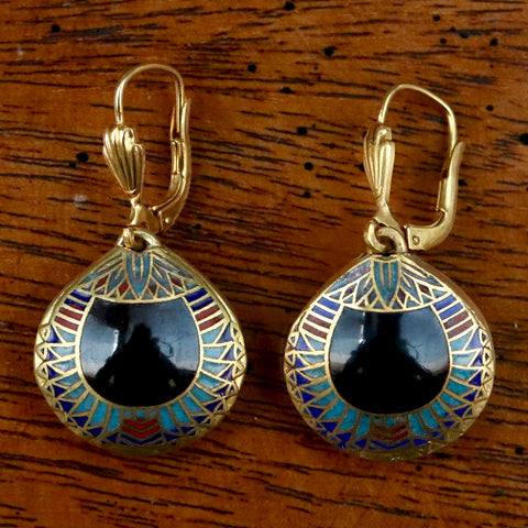 Vintage Shashi Black Scarab Earrings