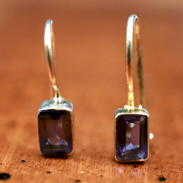Contemporary Drop Iolite Earrings