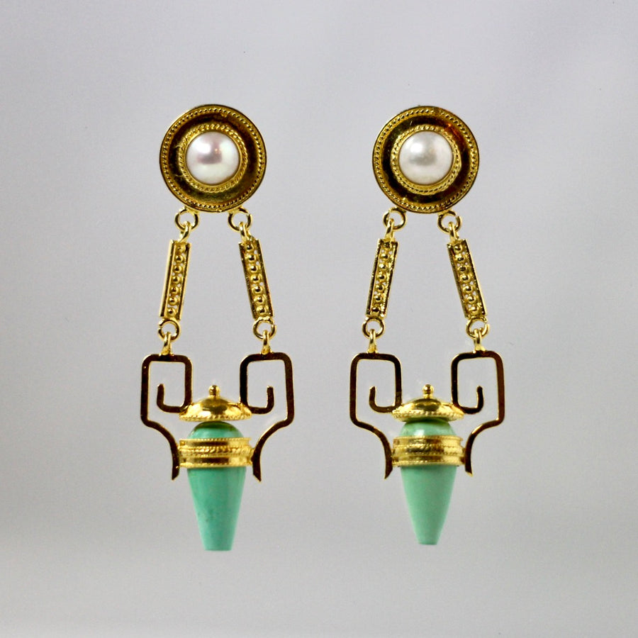 Nijinsky Turquoise and Pearl Earrings