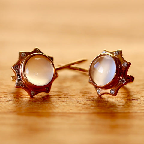 14k Sun and Moon Moonstone Diamond Earrings