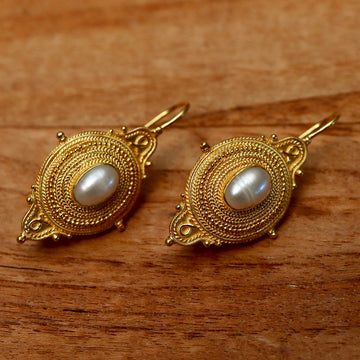 Northumbrian 14k Gold and Pearl Earrings