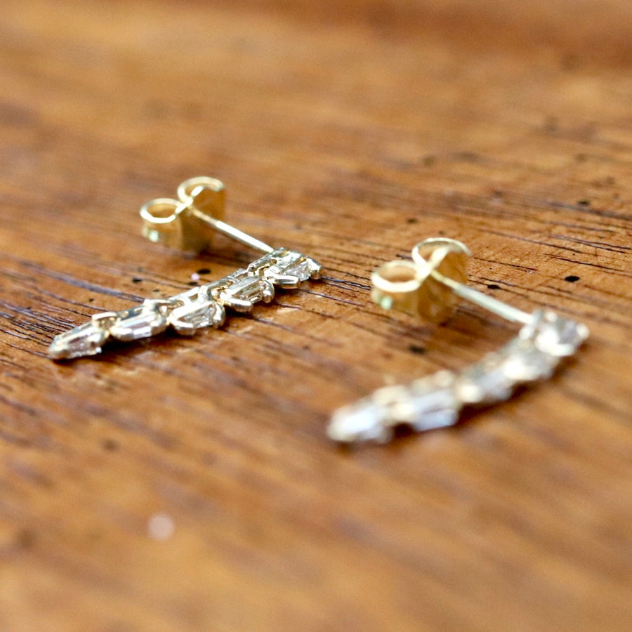 Comet 14k Gold and Diamond Earrings