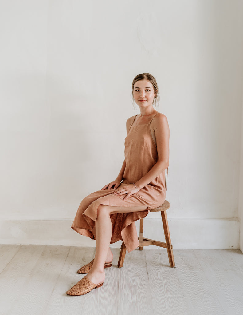 Long Summer Dress in Tuscan Colour Linen by Free The Label