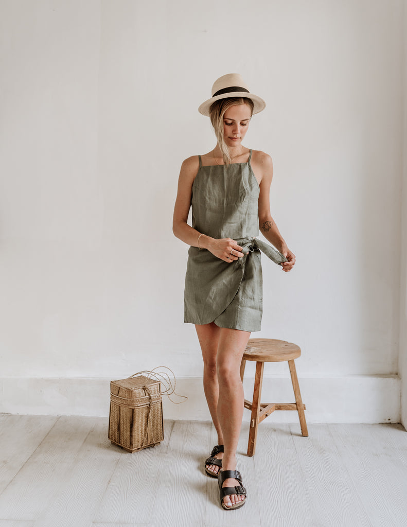 Linen Skirt in Sage Green by Free The Label