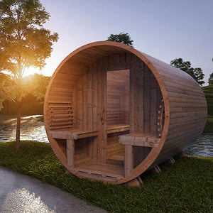 Traditional Outdoor Country Living Barrel Sauna by Saunacore