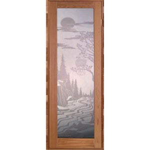 Full Glass Etched Scenic Door by Saunacore